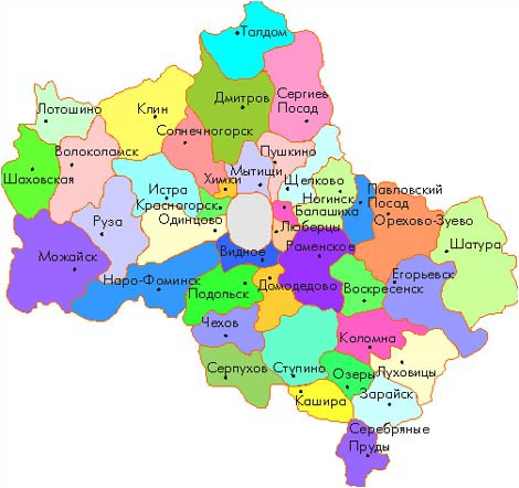Map of Moscow Oblast